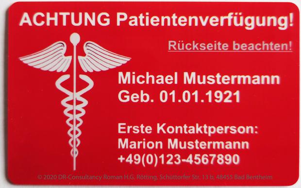 Die Patientenverfügungskarte